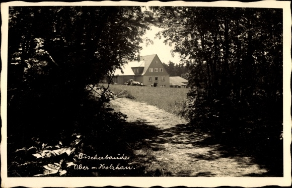 Foto Ak Ober Holzhau Rechenberg Bienenmühle Erzgebirge, Wegpartie zur Fischerbaude