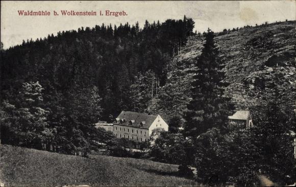 Ak Wolkenstein im Erzgebirge, Blick auf die Waldmühle am Hang 0