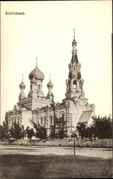 Ak Brest Litowsk Weißrussland, Blick auf die Kirche