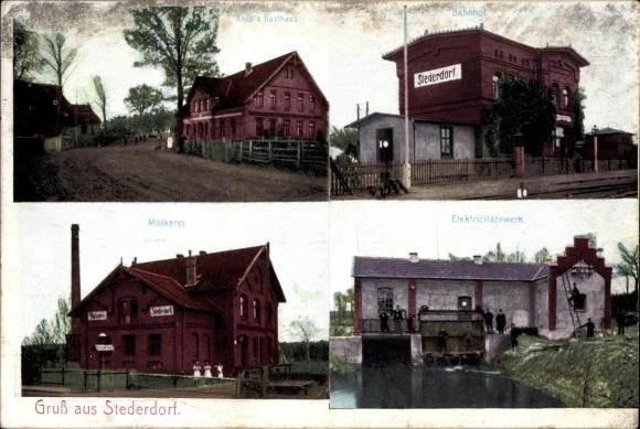 Ak Stederdorf Peine in Niedersachsen, Knop's Gasthaus, Bahnhof, Molkerei, Elektrizitätswerk