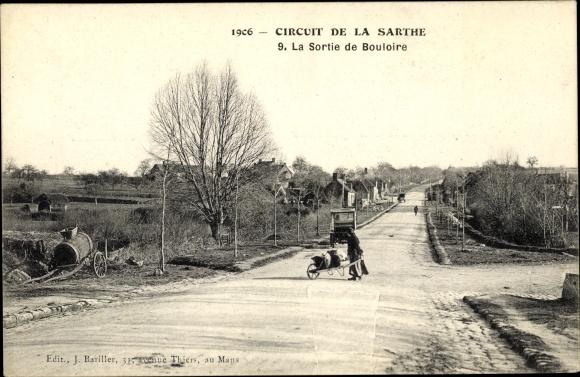 Ak Circuit de la Sarthe, La Sortie de Bouloire, Autorennen