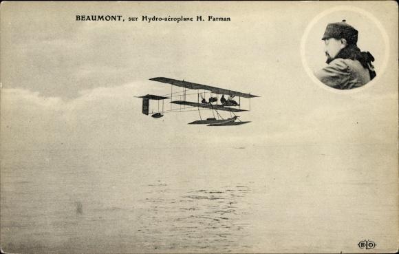 Ak Beaumont, sur Hydro aéroplane H. Farman, Flugzeug, Pilot, Flugpionier