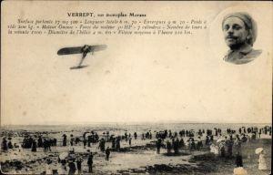 Ak Verrept, sur monoplan Morane, Flugzeug, Pilot, Flugpionier