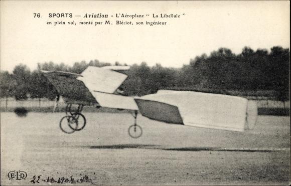 Ak Sports d'Aviation, L'Aéroplane La Libelulle en plein vol, monté par M. Blériot, Flugpionier