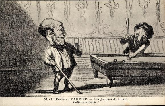 Künstler Ak L'Oeuvre de Honoré Daumier, Les joueurs de billard, Collé sous bande