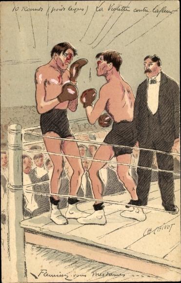 Künstler Ak Chivot, Boxer im Ring, Blutende Nasen, Schiedsrichter