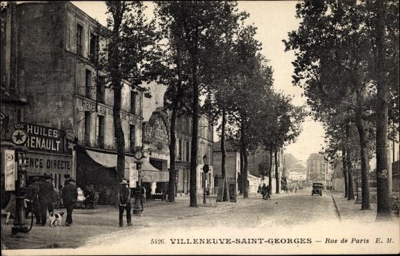 Ak Villeneuve Saint Georges Val de Marne, Rue de Paris, Huiles Renault