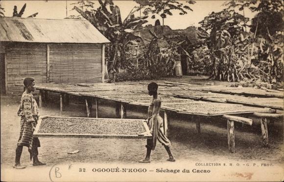 Ak Ogooué N'Kogo Gabun, Séchage du Cacao, Kakaotrocknung