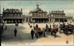 Ak Dunkerque Nord, La Gare, Blick auf den Bahnhof, Levy & Fils 58