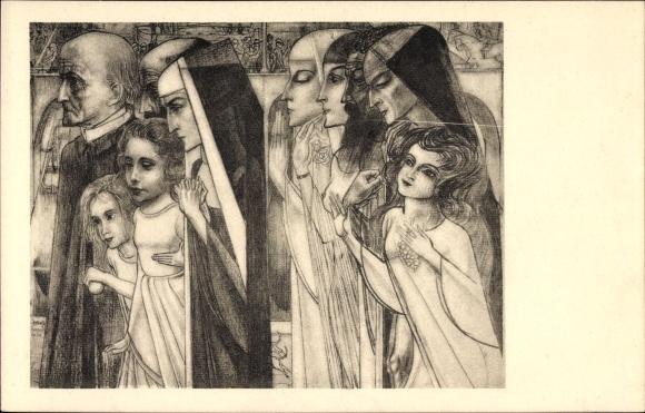 Künstler Ak Toorop, Jan Th., Zielegang, Nonnen und Kinder
