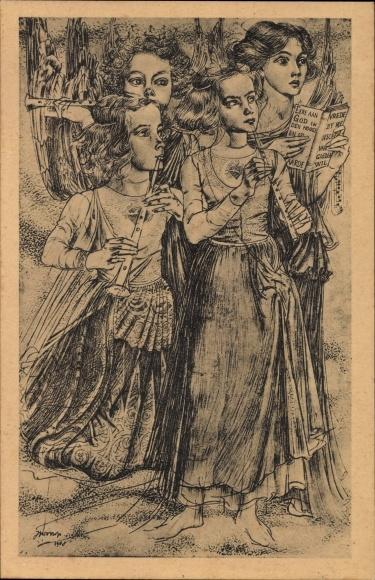 Künstler Ak Toorop, Jan Th., Kersttriptiek I Engelenzang, Engelsgesang