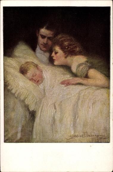 Künstler Ak Underwood, Clarence, Eltern betrachten schlafendes Baby