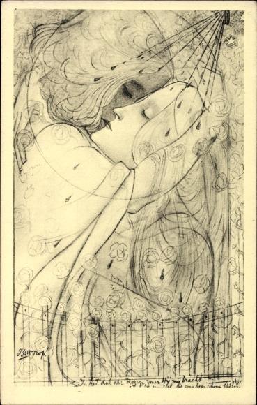 Künstler Ak Toorop, Jan Th., Dal der rozen, Tal der Rosen, Liebespaar umarmt sich