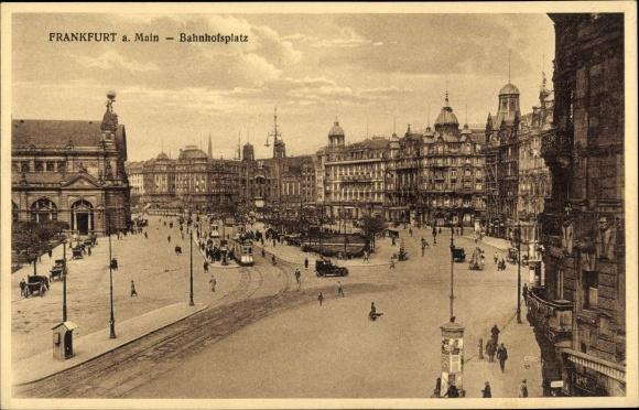 Ak Frankfurt am Main, Blick auf den Bahnhofsplatz