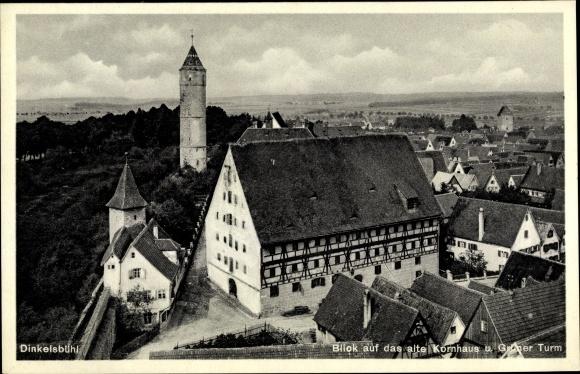 Ak Dinkelsbühl im Kreis Ansbach Mittelfranken, Blick auf das alte Kornhaus und Grüner Turm