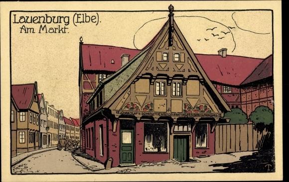 Steindruck Ak Lauenburg an der Elbe, Am Markt, Ältestes Haus