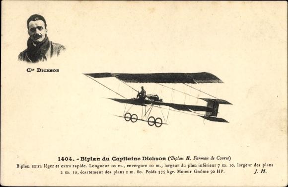 Ak Biplan du Capitaine Dickson, Biplan H. Farman de Course, Flugzeug, Pilot, Flugpionier