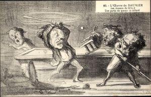 Künstler Ak L'Oeuvre de Honoré Daumier, Les joueurs de billard, Une partie de queues de billard