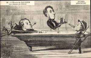 Künstler Ak L'Oeuvre de Honoré Daumier, Les Joueurs de billard, Jeunes amateurs