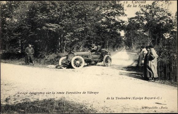 Ak Circuit de la Sarthe, Virage dangereux sur la route Forestière de Vibraye de la Touloubre, Bayard