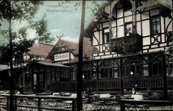 Ak Chemnitz Sachsen, Terrassenpartie an der Waldschänke