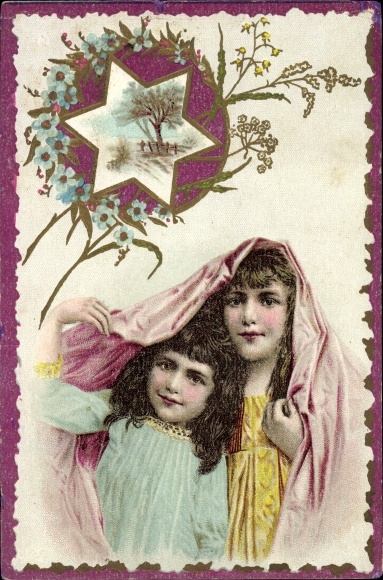 Präge Litho Zwei brünette Mädchen unter einem rosa Tuch