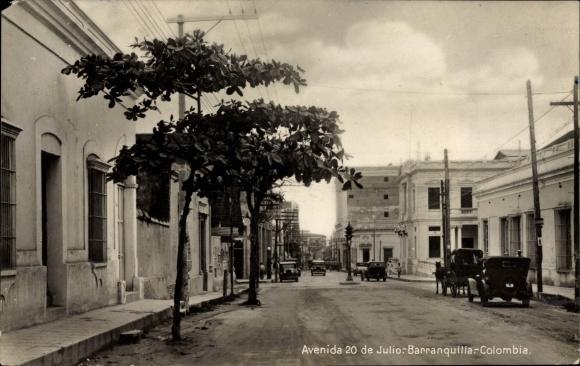 Ak Barranquilla Kolumbien, Avenida 20 de Julio, Straßenpartie