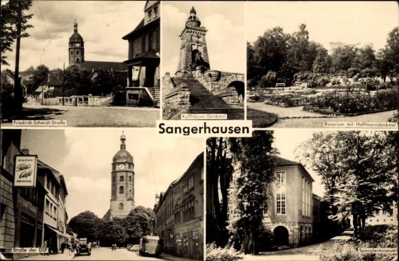 Ak Sangerhausen im Kreis Mansfeld Südharz, Strassenansichten, Kyffhäuser Denkmal, Spenglermuseum