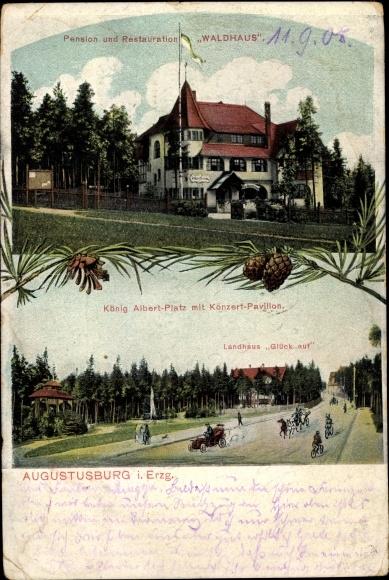 Ak Augustusburg im Erzgebirge, Pension und Restauration Waldhaus, König Albert Platz, Landhaus