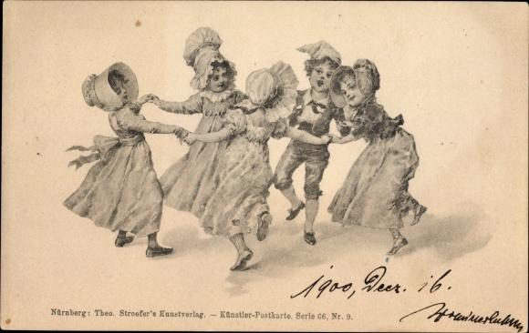 Künstler Ak Tanzende Kinder, Kinderreigen, Theo Stroefer Serie 66 Nr. 9