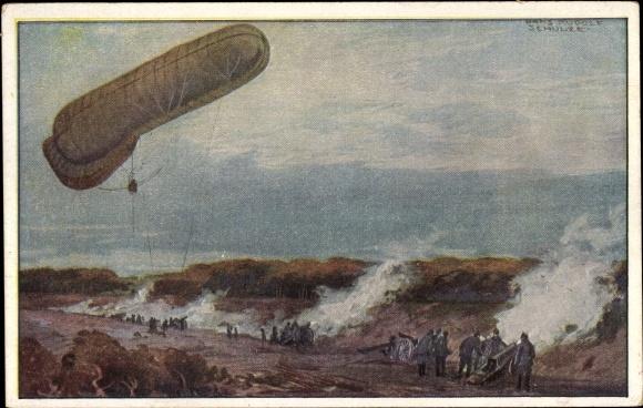 Künstler Ak Schulze, Hans Rudolf, Fesselballon die Artilleriewirkung beobachtend, I. WK