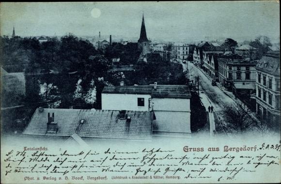 Mondschein Ak Hamburg Bergedorf, Blick auf die Stadt über den Häuserdächern