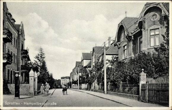 Ak Szprotawa Sprottau Schlesien, Hampelbergstraße, Gebäude