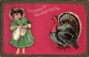 Präge Ak Good wishes for Thanksgiving Day, Truthahn, Kind, USA