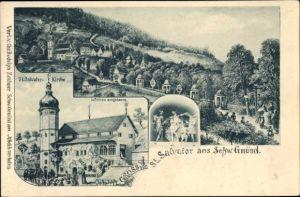 Litho Schwäbisch Gmünd im Ostalbkreis, Kirche St. Salvator und Umgebung