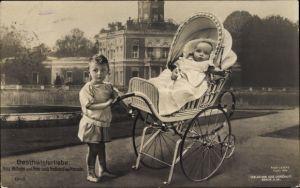 Ak Geschwisterliebe, Prinz Wilhelm und Prinz Louis Ferdinand von Preußen, Kinderwagen, Liersch 1948