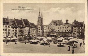 Ak Nürnberg in Mittelfranken Bayern, Hauptmarkt mit Sebalduskirche