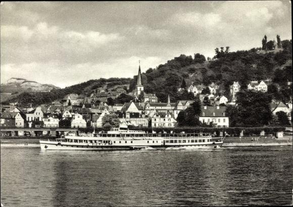Ak Linz am Rhein im Kreis Neuwied, Dampferpartie mit Blick auf die Stadt
