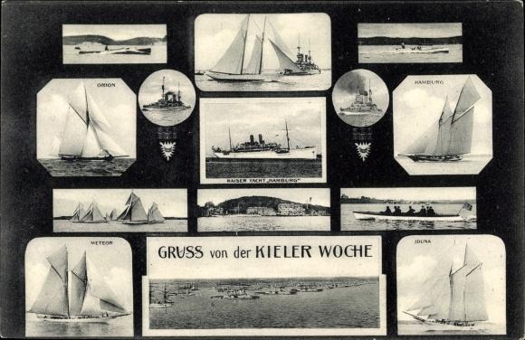 Passepartout Ak Kiel in Schleswig Holstein, Kieler Woche, SMY Hamburg, Meteor, Iduna, Orion