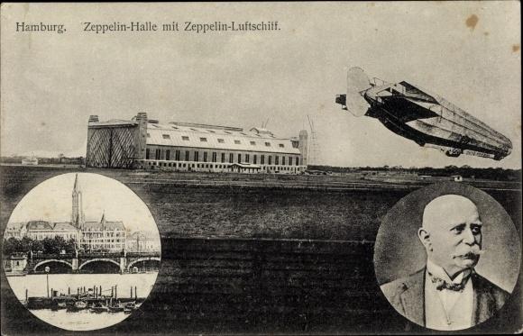 Ak Hamburg, Zeppelinhalle mit Zeppelin Luftschiff, Ferdinand Graf von Zeppelin