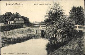 Ak Vossloch Bokholt Hanredder in Schleswig Holstein, Blick auf eine Brücke über die Krückau
