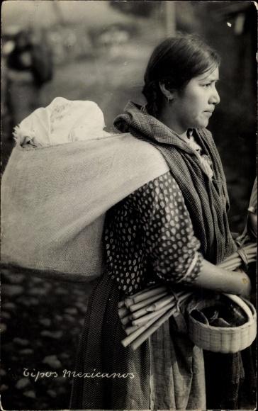 Ak Mexiko, Tipos mexicanos, mexikanische Frau mit Sack auf dem Rücken, Korb, Bündel