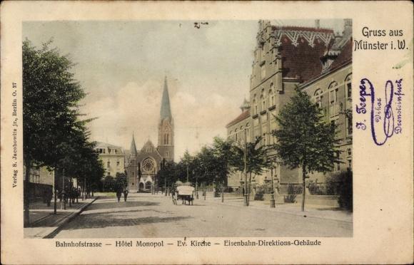 Ak Münster in Westfalen, Bahnhofstraße, Hotel Monpol, Evang. Kirche, Eisenbahndirektionsgebäude