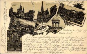 Litho Wiesbaden in Hessen, Griechische Kapelle m. Innenraum, Bergkirche, Neroberg, Tempel, Bahnhof