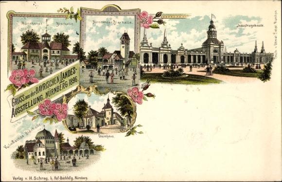 Litho Nürnberg, Bayr. Landesausstellung 1896, Münchener Bierhalle, Kulmbacher Bierhalle, Weinhaus