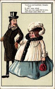 Künstler Ak You're so well matched, dünner Mann und dicke Frau