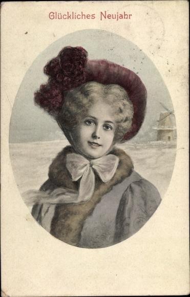 Ak Glückwunsch Neujahr, Portrait einer jungen Frau mit Hut vor einer Windmühle, BKWI 696 5