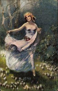 Künstler Ak Trübe, Maxim, Junge Frau tanzt über eine Blumenwiese
