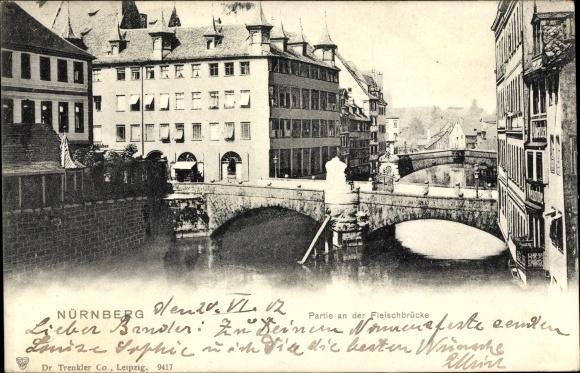 Ak Nürnberg in Mittelfranken Bayern, Partie an der Fleischbrücke