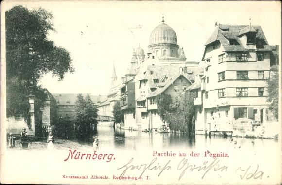 Ak Nürnberg in Mittelfranken Bayern, Partie an der Pegnitz, Synagoge, Insel Schütt